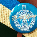 : Blue and white porcelain HK illustrated pinback button