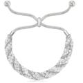 Liquidation/Wholesale Lot: 12 pc Swarovski Elements Cluster Slider Bracelets- Silver Overlay
