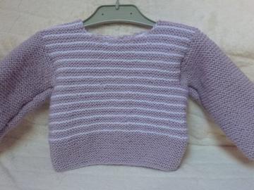 Vente au détail: Brassière lilas et blanche tricotée : 6 mois - livraison gratuite