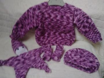 Vente au détail: Ensemble bébé rose tricoté main : 3 mois - livraison gratuite