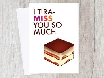 : I Miss You Card | Long Distance, Love, Friendship, Food Pun