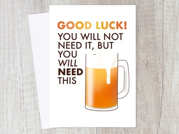 : Good Luck Beer Card | New Adventure, Drink, For him
