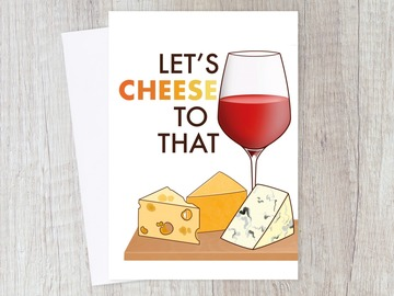 : Cheers Congratulations Card | Cheese Pun & Wine for Friends