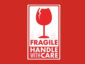 : Fragile Handle with Care Matte Vinyl Waterproof Sticker