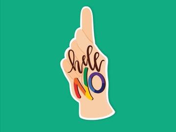 : Hell No Sassy Finger Matte Waterproof Vinyl Sticker