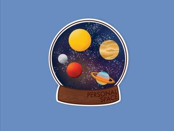 : Personal Space Introvert Universe Matte Waterproof Vinyl Sticker