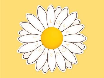 : Daisy White Flower Self-Love Waterproof Matte Vinyl Sticker