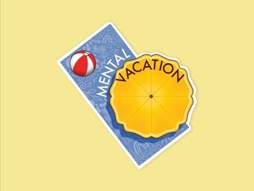 : Mental Break Vacation Beach Towel Matte Waterproof Vinyl Sticker