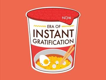 : Instant Noodles Gratification Matte Waterproof Red Vinyl Sticker