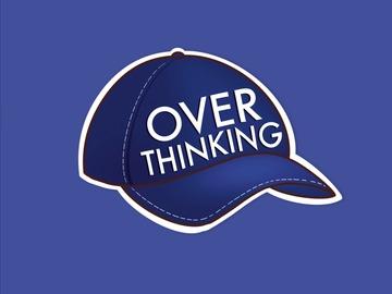 : Overthinking Cap Friend Funny Matte Waterproof Navy Vinyl Sticker