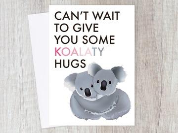 : Long Distance Koala Hug Card for Friend, Couple Love   Sweet Puns