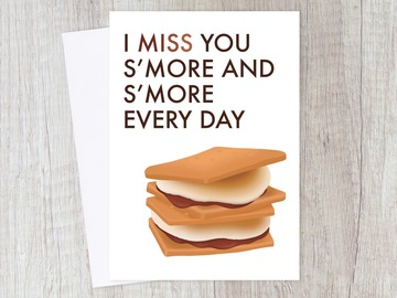 : I Miss You S'More Greeting Card | Long Distance, Romantic Love