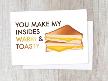 : Warm Grilled Melted Cheese Pun Sweet Card   Romantic Love Couple
