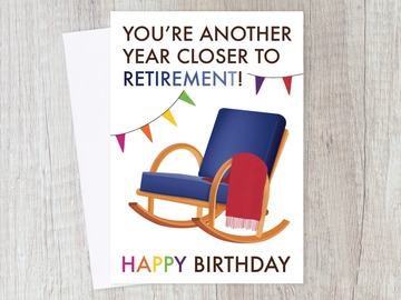 : Funny Retirement Countdown Birthday Card for Friends & Colleague