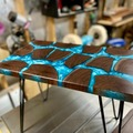 Selling with online payment: Segmented Black Walnut Log and Resin Side Table
