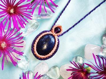 Vente au détail: Pendentif violet, Lapis Lazuli et Améthyste