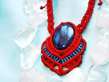 Vente au détail: Pendentif rouge avec Lapis Lazuli