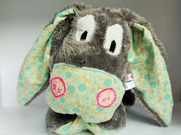 Vente au détail: Mon âne gris fleuri turquoise