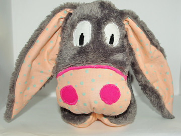Vente au détail: Mon âne gris et rose à pois