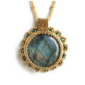 Selling: Beautiful Beaded Blue Green Marble Pendant Necklace