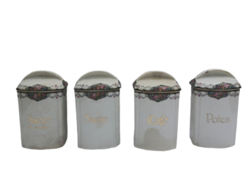 Vente: Lot de 4 pots anciens en porcelaine