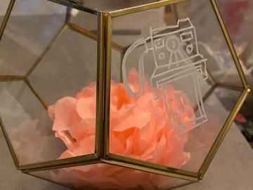 Ilmoitus: Kultainen lasilaatikko polaroid kuville