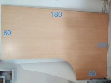 Myydään:  Sturdy L-shaped corner table top 180x120cm