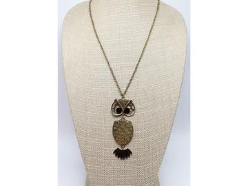 Liquidation/Wholesale Lot: Dozen Gold Owl Pendant Necklaces