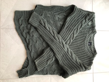 Selling with online payment: River Island KHAKI GREEN CABLE KNIT ASYMMETRIC JUMPER
