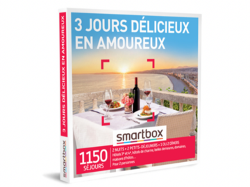 """Vente: Coffret Smartbox """"3 jours délicieux en amoureux"""" (179,90€)"""
