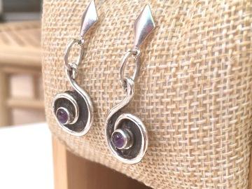 Vente au détail: Boucles d'oreilles argent spirales et améthystes