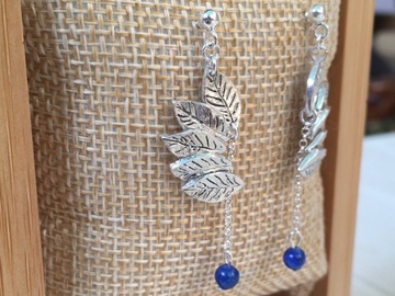 Vente au détail: Boucles d'oreilles argent feuilles et lapis-lazuli