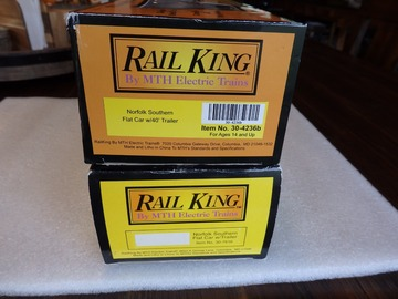 Selling with online payment: MTH Rail King  Norfolk Southern Flat Cars w/trailers 2pcs