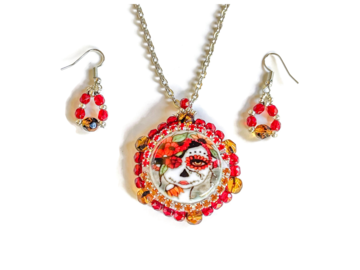 Selling: One-Of-A-Kind Beaded Dia De Los Muertos Necklace and Earrings Set