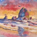 Selling with online payment: Haystack Rock 11x14 Art Print