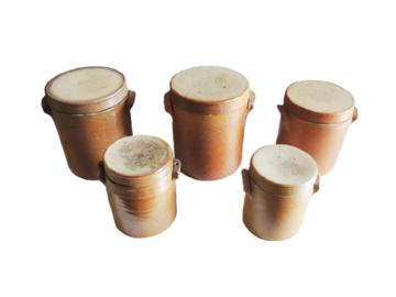 Vente: Lot de 5 Anciens Pots en Grès «de Bonny» avec Couvercle