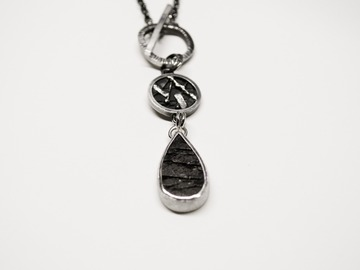 Selling: Natural Surface Obsidian Toggle Necklace