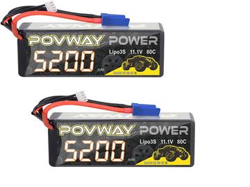 Selling: (2) 3S 11.1V 5200mAh 80C Lipo Batteries EC5 Arrma Infraction 6s 2