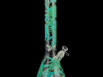 """Post Now: Red Eye Glass 15"""" Tall Leaf Beaker Tube Bong"""