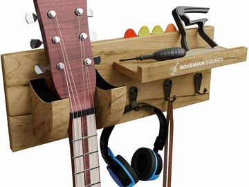 Liquidation/Wholesale Lot: Guitar Wooden Wall Hanger By Bohemian Sounds – LIGHT BROWN
