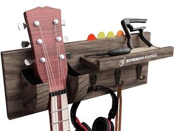 Liquidation/Wholesale Lot: Guitar Wooden Wall Hanger By Bohemian Sounds – Dark BROWN