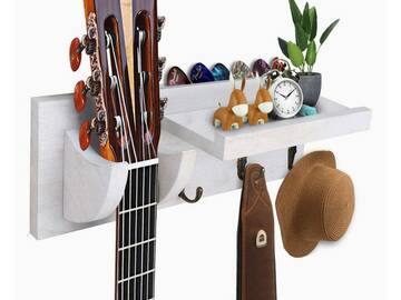 Liquidation/Wholesale Lot: Guitar Wooden Wall Hanger By Bohemian Sounds – White
