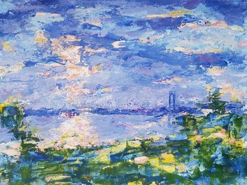 Sell Artworks: Abstract landscape with Verrazano bridge in New York