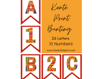Selling with online payment: Kente African Print Bunting Letters and Numbers