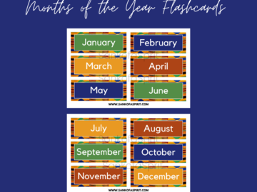 Selling with online payment: Kente Pattern Months of the Year Flashcards