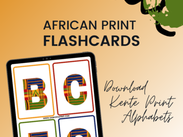 Selling with online payment: Kente Alphabets Flashcards