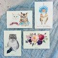 : Cat/kitty watercolour postcard set
