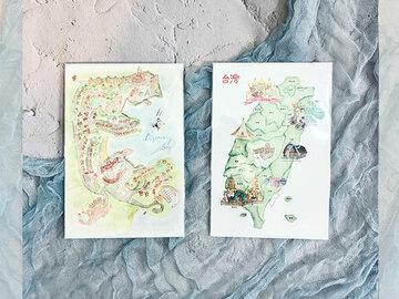 : Taiwan map, Discovery Bay Hong Kong postcard set