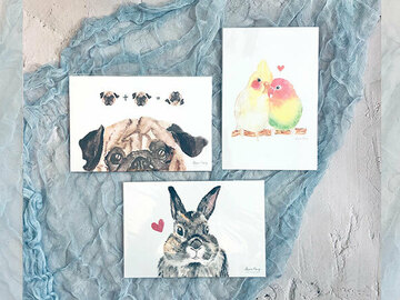 : Pug, bunny and love bird watercolour postcard set