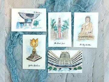 : Hong Kong watercolour illustrated collection postcard set